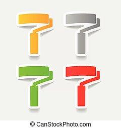 現実的, element:, デザイン, ローラー, ペンキ