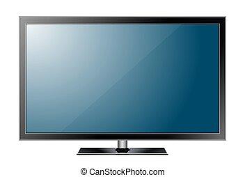 現実的, tv, screen., 現代, 流行, リードした, type., 大きい, コンピュータモニター, ディスプレイ, mockup., ベクトル, イラスト