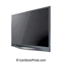 現実的, tv, screen., 現代, 流行, lcd, パネル, リードした, type., 大きい, コンピュータモニター, ディスプレイ