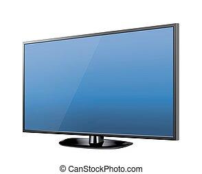 現実的, tv, screen., 現代, 流行, lcd, パネル, リードした, type., 大きい, コンピュータモニター, ディスプレイ, mockup