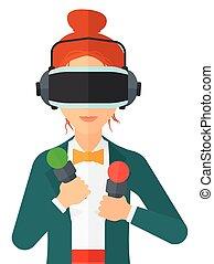 現実, 事実上, 女, headset., 身に着けていること