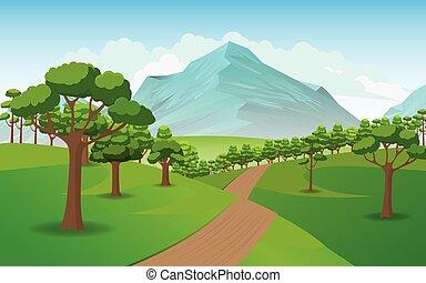 現實, 山, 插圖, 風景。