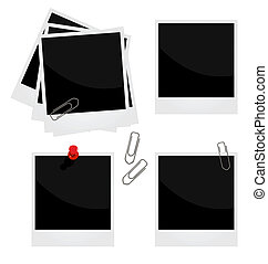 現實, 插圖, ......的, 集合, a, 照片框架