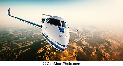 現實, 相片, ......的, 銀, 一般, 設計, 私人噴气式飛机, 飛行結束, the, 山。, 空, 藍色的天空, 由于, 太陽, 在, background.business, 旅行, 所作, 現代, 豪華, aircraft., horizontal.closeup, photo., 3d, rendering