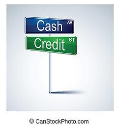 現金, クレジット, 方向, 道, 印。