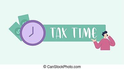 現金, メモ, illustration., 会計, について, 日, 財政, 和解, 税, 税, banking., 時間