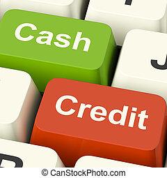 現金, 以及, 信用, 鑰匙, 顯示, 消費者, 購買, 使用, 錢, 或者, 債務