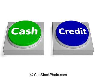 現金, 信用, 按鈕, 顯示, 貨幣, 或者, 貸款