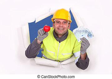 現金。, 提示, 彼の, 労働者, 建設