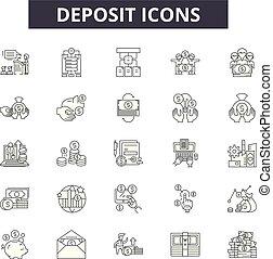 現金, illustration:, お金, 堆積, 金融, セット, 堆積, アウトライン, 概念, vector., 線, 銀行, サイン, アイコン, 銀行業