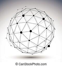 球形, 抽象的, 黒い、そして白い, 内側を覆われた, 3d, イラスト, ベクトル