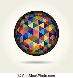 球形, 有色人種, イラスト, ベクトル, 3d., 幾何学的