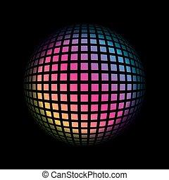 球形, 有色人種, 格子, pattern., イラスト, ベクトル, 背景, 幾何学的, 3d