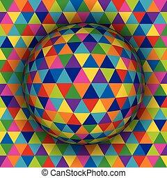 球形, 有色人種, pattern., イラスト, ベクトル, 背景, 幾何学的, 3d