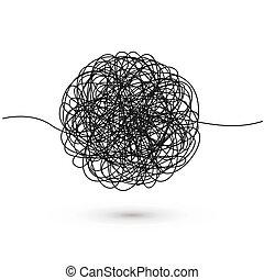 球形, 略述, doodle., 混亂, thread., 摘要, 形狀。, 插圖, 手, 矢量, 處於混亂狀態, 畫, 線, 混亂狀態, 雜文, 黑色