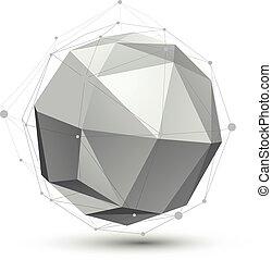 球形, 顏色, 摘要, 對象, 格子, 單個, 矢量, 複雜, eps8, 概念性, 幾何學, element., 3d