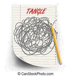 球形, abstract., 略述, doodle., 混亂, brainwork., 插圖, circle., 頭腦, scrawl, 處於混亂狀態, vector., 混亂狀態, 圖畫