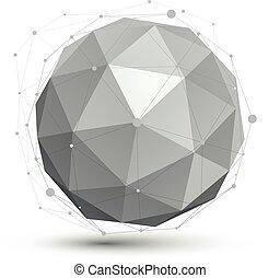 球形, wireframe., イラスト, 抽象的, オブジェクト, ベクトル, 技術, 見通し, 幾何学的, 球, 3d