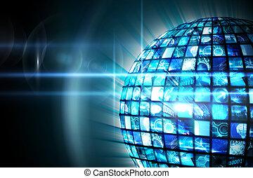 球, の, デジタル, スクリーン, 中に, 青