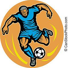 球 プレーヤー, ける, サッカー, 見られた, 前部