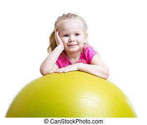 球, 体操, 乐趣, 女孩, 有, 孩子