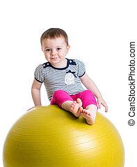 球, 体操, 隔离, 乐趣, 有, 孩子