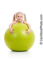 球, 体操, 隔离, 孩子, 乐趣, 女孩, 有