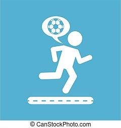 球, 侧面影象, 图标, 跑, 足球, 人