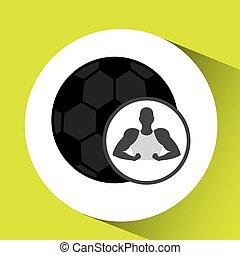 球, 侧面影象, 显示, 肌肉, 足球, 人