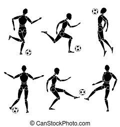 球, 侧面影象, 足球, 模型, 足球, 人