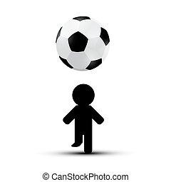 球, 侧面影象, 足球, -, 表演者, 足球, 人