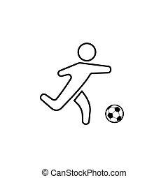 球, 侧面影象, 足球, 隔离, 表演者, (soccer)