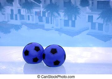 球, 反映, 池