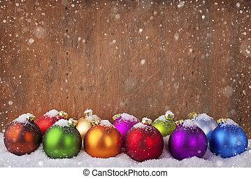 球, 圣诞节, 色彩丰富