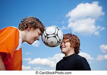球, 头, 天空, 对, 男孩, 平衡, 足球