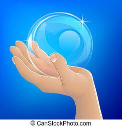 球, 手, 玻璃, 握住, 气泡, 或者