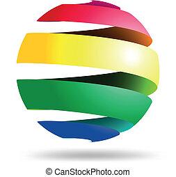 球, 抽象的, シンボル, カラフルである