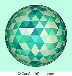 球, 抽象的, 三角形, 3d