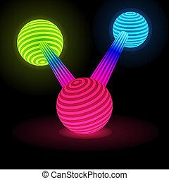 球, 抽象的, 接続される, 白熱
