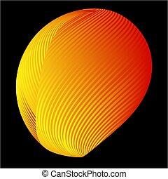 球, 抽象的, 3d, 背景, 半分