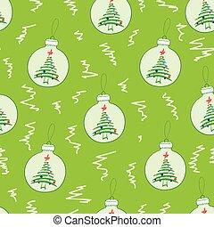 球, 樅樹, seamless, 聖誕節