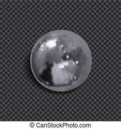 球, 现实, 隔离, 金属, 黑暗, 背景。, 矢量, 遮蔽, 透明, 3d