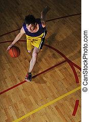 球 球員, 游戲, 籃子, 運動, 大廳