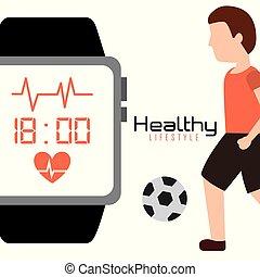 球, 生活方式, 健康, app, 观看, 足球, 聪明, 人