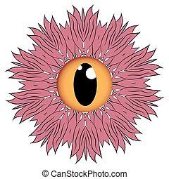 球, 眼睛, 怪物, 形式, 有舌苔, 一, 森林