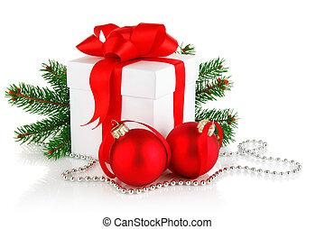 球, 礼物, 分支, firtree, 圣诞节, 红