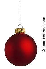 球, 结束, 背景, 白的christmas, 红