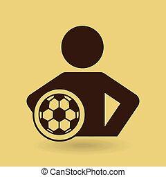 球, 腰部, 图标, 手, 足球, 人