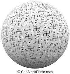 球, 适合, 难题, 和平, 一起, 半球, 协调, 块