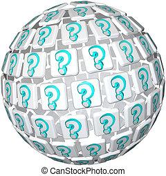 球, 问题, -, 标记, 半球, 好奇, 混乱